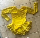 Girls YELLOW SUNSHINE Sequin SPARKLE VELVET Competition FIGURE ICE SKATING Dress