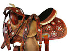 TRAIL SADDLE 16 15 HORSE PLEASURE FLORAL TOOLED SILVER CONCHO BROWN LEATHER TACK