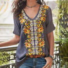 Women Tops Casual Floral Print T-Shirt Blouse Loose Baggy V-Neck Bohemian Tee US