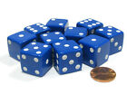 Внешний вид - Set of 10 Large Six Sided Square Opaque 19mm D6 Dice - Blue with White Pip Die