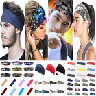Men Wide Headband Sweatband Stretch Sweat Elastic Sport Yoga Run Solid Hairband