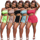 Women off shoulder solid color casual club party short jumpsuit outfits 2pc