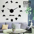 I Love Turtles DIY Large Clock Wall Sea Turtles Silhouette Beach Sticker Watch
