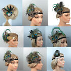 1920s Flapper Headband Peacock Feather Headpiece Vintage Gatsby Hair Accessories