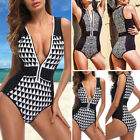 Womens Front Zip One Piece Bikini Push Up Padded Bra Monokini Swimsuit Swimwear $13.29 USD on eBay