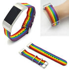 US For Fitbit Charge 3 4 Rainbow Nylon Watch Band Sport Wrist Strap Metal Clasp image