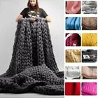 Large Warm Hand-Knitted Blanket Wool Thick Line Yarn Winter Chunky Sofa Throw image