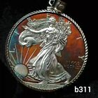Silver Eagle coin Pendant Necklace Artistic Toning fine silver. image