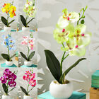 Artificial Plastic Orchid Fake Flowers Potted Plant Home Outdoor Decor 4 Heads