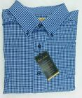 NWT Gold Label Roundtree York Blue Gingham Check Button Down Men Shirt XLT $79