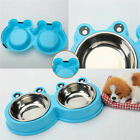 Pet Dog Cat Supplies Food Water Double Stainless Steel Bowl Food Feeder Dish