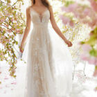 Bride Wedding Dresses with Lace Appliques Sexy V Neck Wedding Dress Bridal Gown