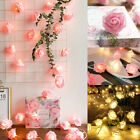 Rose Flower 20 LED Garland String Light Fairy Wedding Party Valentine's Day
