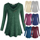 Womens Tunic V-Neck Long Sleeve Casual Loose Tops Blouse Sweatershirt Pullover