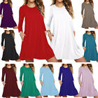 US Women Xmas Long Sleeve T-Shirt Casual Party A Line Skater Loose Pocket Dress