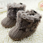 Infant Baby Girl Winter Cotton Knit Fleece Snow Boots Warm Fur Soft Crib Shoes