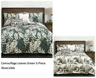 Camouflage Leaves Green 5-Piece Quilt Set by Lush Decor Reversible Multiple Size
