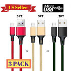 3Pack 3Ft Micro USB Cable 3A Fast Charger Data Sync Cord Samsung Android HTC LG