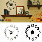DIY 3D Number Mirror Wall Clock Sticker Fashion Decor for Home Office Kids Room