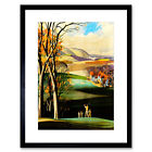 Painting Landscape Sport Golf Course Drive Green Framed Print 12x16 Inch