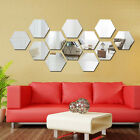 12pcs 3d Mirror Hexagon Vinyl Removable Wall Sticker Decal Home Decor Oqf