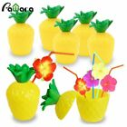 12PCS Pineapple Coconut Drink Cups with Flower Straws Fruit Shape Beach Party Su