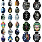 3D Paint Wolf Skull Pattern Men Women Hoodie Sweatshirt Punk Rock Coat Top Shirt