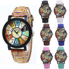 Womens Unisex Retro Casual Leather Analog Quartz Watch Ladies Wrist Watches SA image