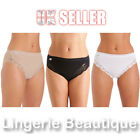 3 Pack La Marquise Ladies Cotton High Leg Briefs Knickers with Lace Size 10 - 18