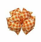 Orange Gingham Plaid Buffalo Check Pinwheel Hair Bow