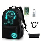 Galaxy Luminous ANTI-THEFT School Backpack Shoulder Bag With USB Charging Port