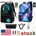 Galaxy Luminous ANTI THEFT School Backpack Shoulder Bag With USB Charging Port