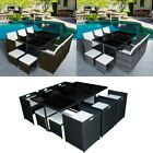 Cube Rattan Garden Furniture Set Chair Glass Table Outdoor Patio Wicker 10seats