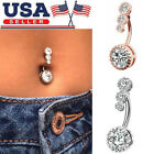 Fashion Navel Belly Button Rings Surgical Steel Zircon Body Piercing Jewelry US image