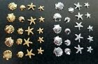 10  Metal 3d Nail Art Jewellery Beach Sea Shell Star Fish In Silver Or Gold. Uk