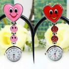 Smile Face Heart Shape Nurse Quartz Clip-on Fob Pocket Watch Pin Brooch LJ image