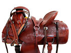 17 16 15 RANCH ROPING WESTERN SADDLE GENUINE TOOLED LEATHER HORSE BROWN TACK SET