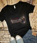 Womens Rhinestone New PIttsburgh Steelers Low Cut V-Neck Fitted T-shirt Tee $26.99 USD on eBay