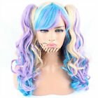 Women's Lolita Cosplay Wigs Long Wavy Curly Hair 2 Claw Ponytails Full Bangs NEW