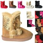 Внешний вид - New Baby Boots Round Toe Faux Fur Sequin Soft Pompom Toddler Shoe Size 2 to 9