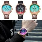 Men Leather Band Strap Luxury Color Changing Colorful Glass Analog Wrist Watches image