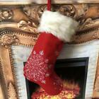 18 inch Christmas Stockings Red Burlap Rustic Xmas Tree Holiday Decorations