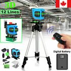 3D 12 Lines 360° Rotary Self Leveling Laser Level Measuring Tool Digital Battery