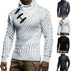 Mens Turtleneck Cardigan Sweater Coat Silm Fit Warm Outwear Winter Pullover Top