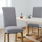 2Pcs Dining Chairs Tufted Side High Back Wood Legs Linen Fabric Nailed Trim Grey