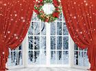 Window Red Curtain Backdrop Christmas Wreath Background Photography Studio Props