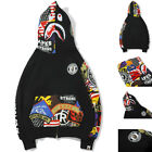 BAPE A Bathing Ape MEN Shark Head Hoodie Sweater Full Zip Camouflage Jacket Coat