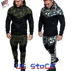 Men Camo Printed Tracksuit Sports Suits Hoodies Pants Slim Fit Fitness Casual US