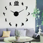 Climbers 3D DIY Wall Clock Mute Mirror Frameless Large Watch Apartment Decor