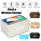 10W QI Alarm Wireless Charger Clock Digital LED Desk Thermometer For iPhone